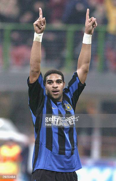 Leite Ribeiro Adriano of Inter celebrates a goal during the Serie A match between Inter Milan and Sienna at the San Siro on February 1 2004 in Milan...