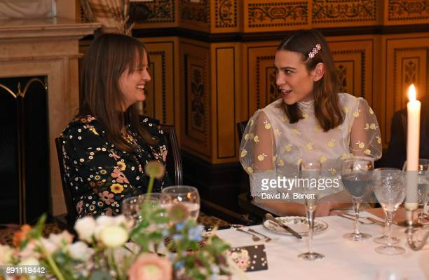Leith Clark and Alexa Chung attend the L'Orla Resort SS18 launch dinner at The Lanesborough Hotel in association with Selfridges on December 12 2017...