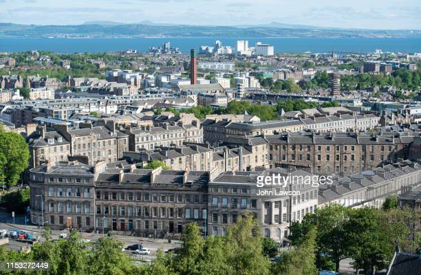 leith from calton hill - edinburgh stock pictures, royalty-free photos & images