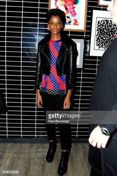 Leitia Wright attends The Cinema Society with Ravage Wines Synchrony host the after party for Marvel Studios' 'Black Panther' at The Skylark on...