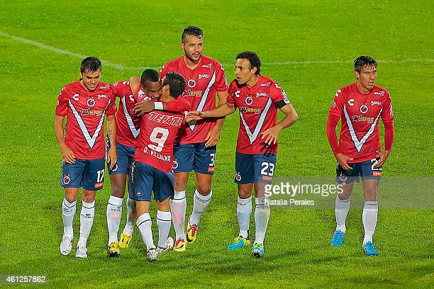 Leiton Jimenez celebrates after scoring his second goal during a match between Santos Laguna and Veracruz as part of 1st round Clausura 2015 Liga MX...
