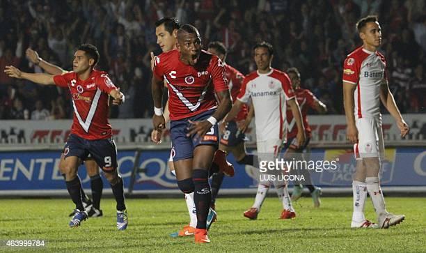 Leiton Jimenez of Veracruz celebrates his goal against Toluca during their Mexican Clausura tournament football match at the Luis Pirata stadium on...