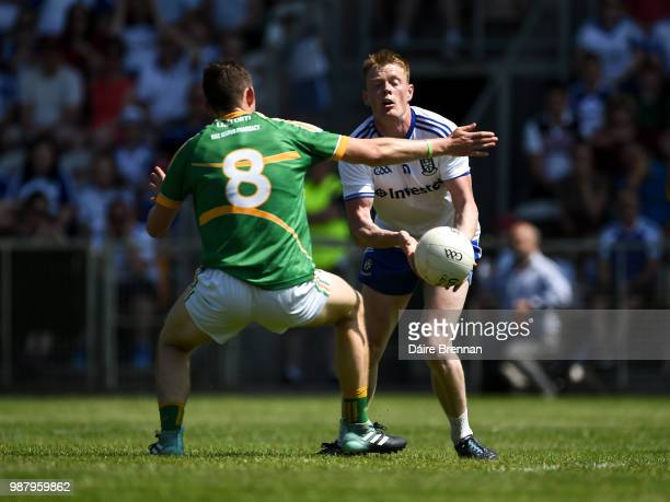 Leitrim Ireland 30 June 2018 Ryan McAnespie of Monaghan in action against Aidan Flynn of Leitrim during the GAA Football AllIreland Senior...