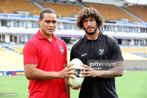 Leivaha Pulu of Tonga and Kevin Proctor of the Kiwis pose during the announcement of a Rugby League Test between the Kiwi Ferns and the Fetu Samoa...