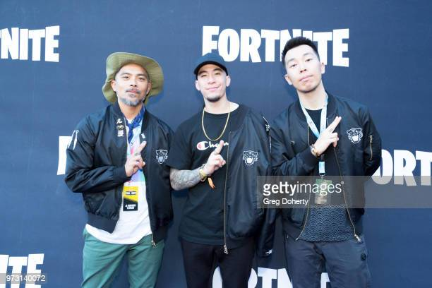Lejay Raslin John Ha and Nick Kim attend the Epic Games Hosts Fortnite Party Royale on June 12 2018 in Los Angeles California