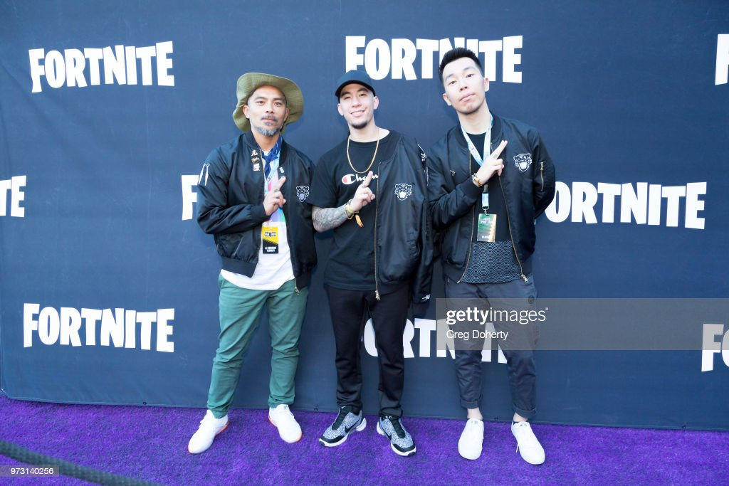 Lejay Raslin, John Ha and Nick Kim attend the Epic Games Hosts Fortnite Party Royale on June 12, 2018 in Los Angeles, California.