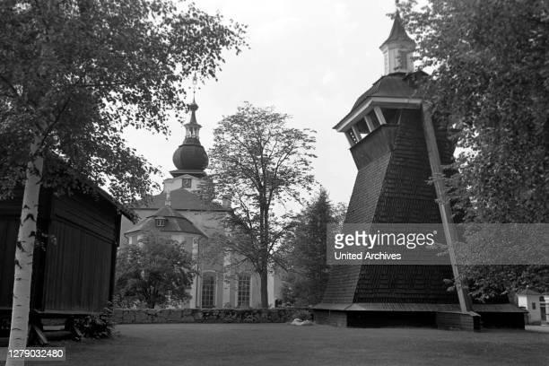 Leksand Church and Belfry, Leksand, Sweden, 1969.