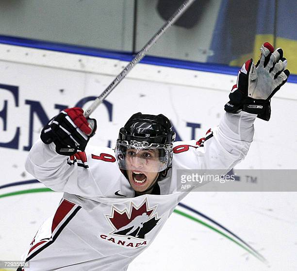 Canada's Andrew Cogliano celebrates after scoring the opening goal against Russia in the final of the 2007 IIHF World U20 Ice Hockey championship, 05...