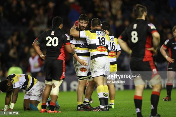 Lekso Kaulashvili of La Rochelle celebrates at the final whistle during The European Challenge Cup match between Edinburgh and La Rochelle at...