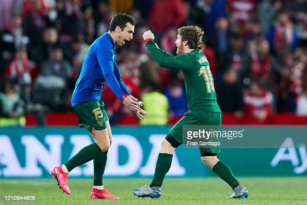 Lekue and Muniain of Athletic Club celebrate after winning the Copa del Rey semifinal 2nd leg match between Granada CF and Athletic Club at Estadio...