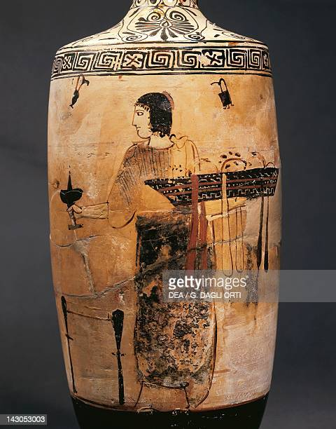 Lekythos showing a gynaeceum scene white ground pottery and black figure pottery Italy Detail Ancient Greek civilization Magna Graecia 5th Century BC...