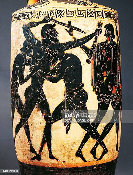Lekythos showing heroes fighting for Achilles's weapons attic blackfigure pottery Italy Detail Ancient Greek civilization Magna Graecia 5th Century...
