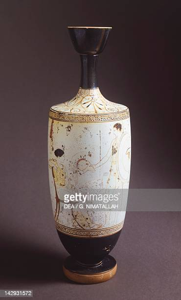 Lekythos white ground pottery from Eretria in Evia Greece Greek Civilization 5th Century BC Athens Ethnikó Arheologikó Moussío