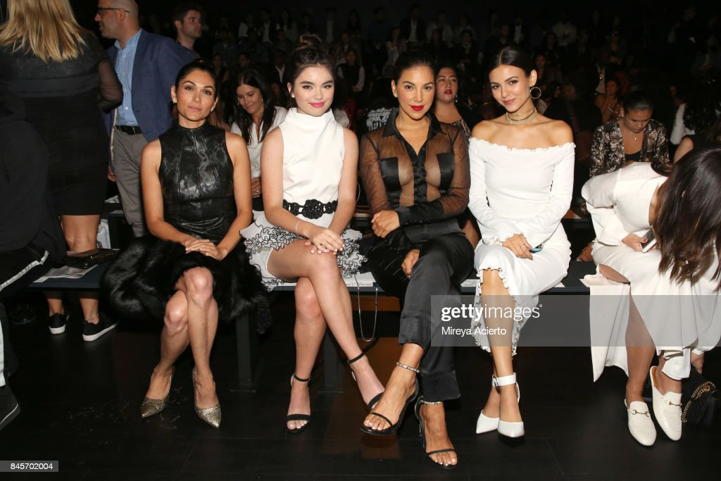 Lela Loren, Landry Bender, Liz Hernandez and Victoria Justice attend the John Paul Ataker fashion show during New York Fashion Week: The Shows at Gallery 1, Skylight Clarkson Sq on September 11, 2017 in New York City.