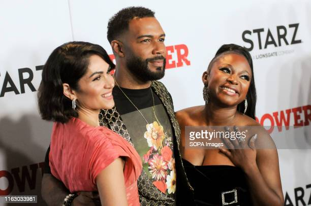 Lela Loren, Omari Hardwick and Naturi Naughton attend the Power Final Season Premiere held at Madison Square Garden in New York City.