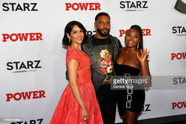 "Lela Loren, Omari Hardwick and Naturi Naughton attend the ""Power"" final season world premiere at The Hulu Theater at Madison Square Garden on August..."