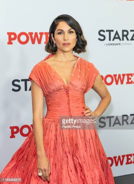 Lela Loren wearing dress by Zac Posen attends STARZ Power Season 6 premiere at Madison Square Garden.