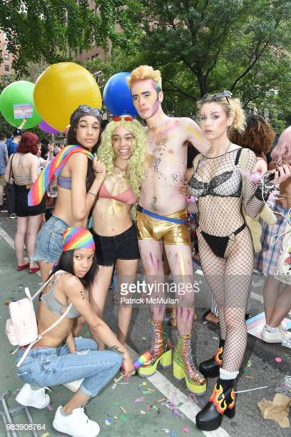 Lela M Goodie Keda Jack and Adrianna at the 2018 New York City Pride March on June 24 2018 in New York City