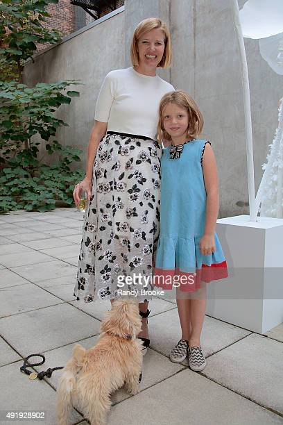 Lela Rose poses with her daughter Rosey Potter Jones during the Lela Rose Bridal Fall/Winter 2016 Presentation at Lehmann Maupin Gallery on October 8...