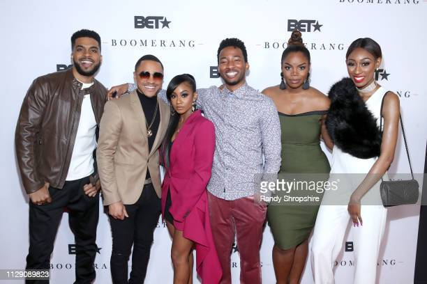 Leland B Martin Tequan Richmond Tetona Jackson RJ Walker Brittany Inge and Lala Milanattends the BET Boomerang LA premiere at Wolf Theatre on...
