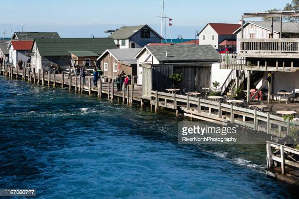 leland historic district (fishtown) - leelanau county  michigan stock pictures, royalty-free photos & images