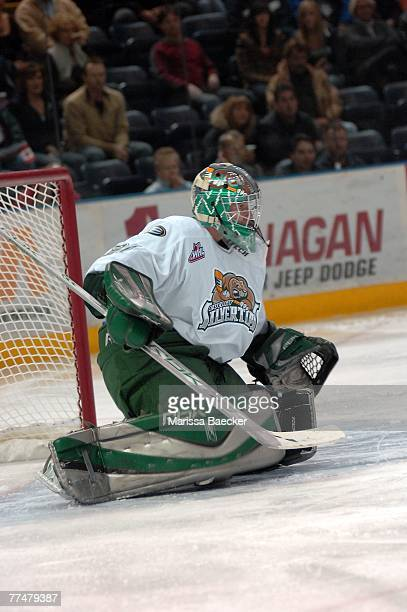 Leland Irving of the Everett Silvertips defends the net against the Kelowna Rockets on October 19 2007 at Prospera Place in Kelowna Canada