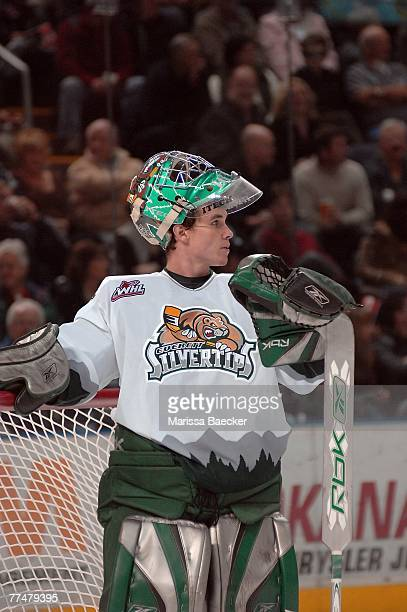 Leland Irving of the Everett Silvertips defends the net against the Kelowna Rockets on October 19 2007 at Prospera Place in Kelowna Canada Irving was...