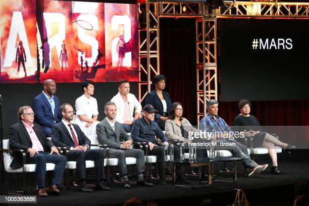 Leland Melvin JiHae Jeff Hephner and Dr Mae Jemison Stephen Petranek Casey Dreier Justin Wilkes Ron Howard Dee Johnson Esai Morales and Antonia...