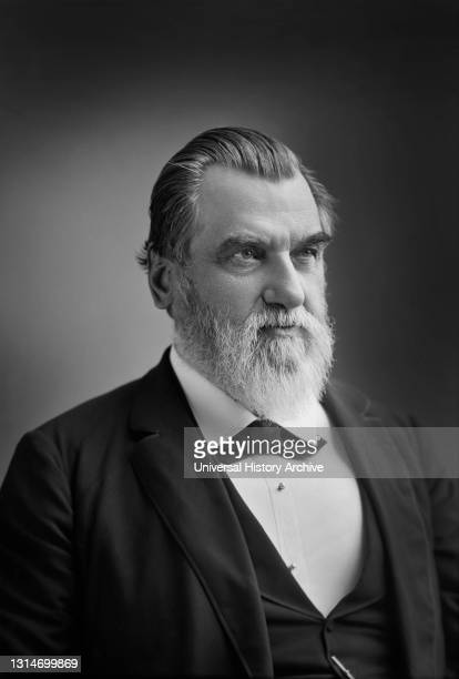 Leland Stanford , American Industrialist, Politician and Founder of Stanford University, generally considered to be a Robber Baron during the Gilded...