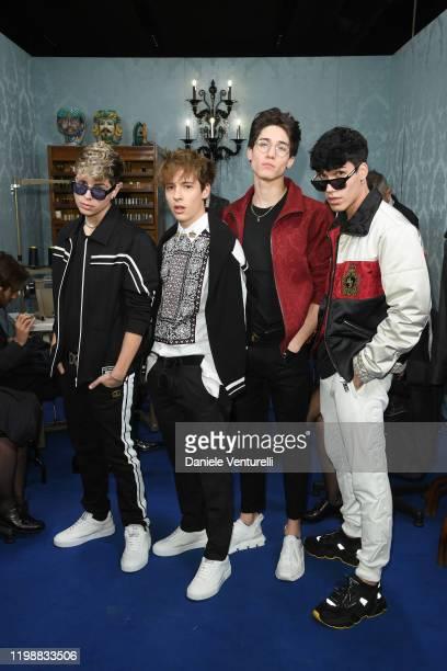 Lele Giaccari, Tancredi Galli, Diego Lazzari and Gianmarco Rottaro is seen at Dolce & Gabbana Front Row during Milan Men's Fashion Week Fall/Winter...