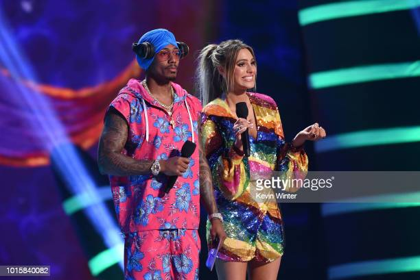 Lele Pons and Nick Cannon with the BTS fandom for the Choice Fandom award onstage during FOX's Teen Choice Awards at The Forum on August 12 2018 in...