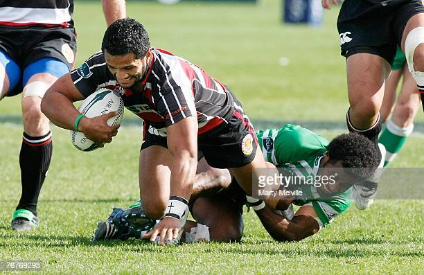 Lelia Masaga of Counties Manukau gets tackled by Tomasi Cama of the Turbos during the Air New Zealand Cup match between Manawatu and Counties Manukau...