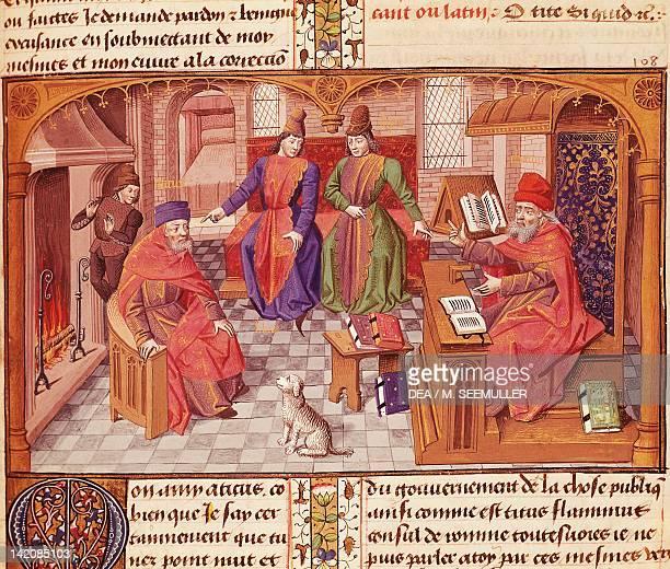 Lelio Sozzini Scipio Aemilianus Atticus and Cato the Censor discussing old age miniature from Cicero's Cato the Elder on Old Age Latin manuscript...