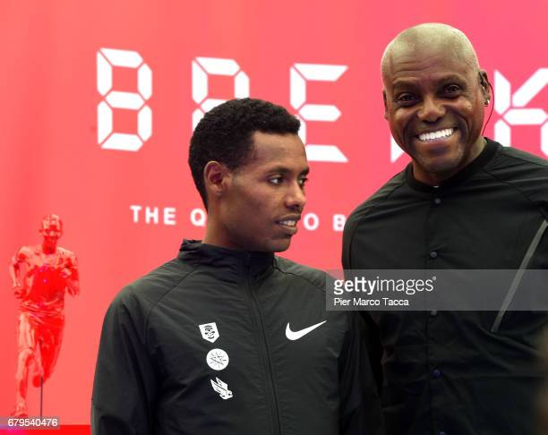 Lelisa Desisa and Carl Lewis pose during final ceremony of the Nike Breaking2 SubTwo Marathon Attempt at Autodromo di Monza on May 6 2017 in Monza...