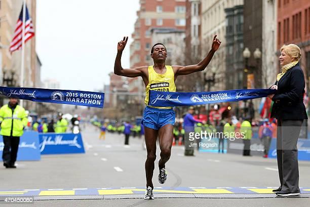 Lelisa Desisa of Ethiopa crosses the finish line to win the 119th Boston Marathon on April 20 2015 in Boston Massachusetts