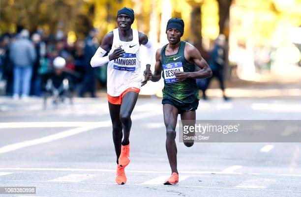 Lelisa Desisa of Ethiopia and Geoffrey Kamworor of Kenya lead the Professional Men's Division during the 2018 TCS New York City Marathon on November...
