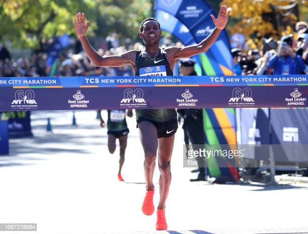 Lelisa Desisa of Ethiopia crosses the finish line sto win the Men's Divisoin of the 2018 TCS New York City Marathon on November 4 2018 in Central...