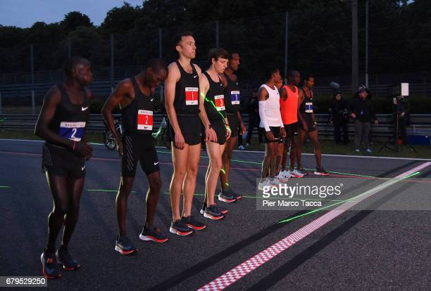 Lelisa Desisa Zersenay Tadese and Eliud Kipchoge on the start line attend the Nike Breaking2 SubTwo Marathon Attempt at Autodromo di Monza on May 6...