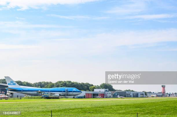 Lelystad airport buildings with the air traffic control tower and the KLM Boeing 747 of the Aviodrome aviation museum on September 14, 2021 in...
