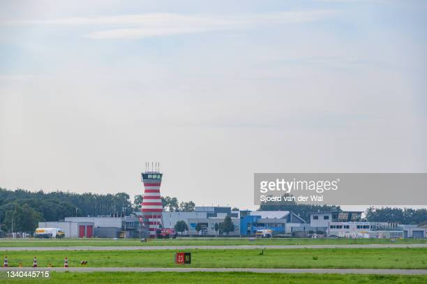 Lelystad airport buildings with the air traffic control tower on September 14, 2021 in Lelystad, The Netherlands. The expansion of the airport to...
