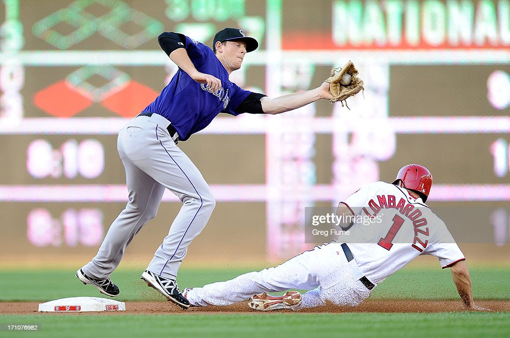 DJ LeMahieu #9 of the Colorado Rockies tags out Steve Lombardozzi #1 of the Washington Nationals trying to steal second base in the second inning at Nationals Park on June 21, 2013 in Washington, DC.