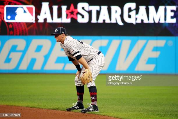 LeMahieu of the New York Yankees and the American League looks on during the 2019 MLB All-Star Game, presented by Mastercard at Progressive Field on...