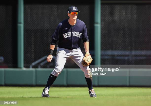 LeMahieu of the New York Yankees awaits the pitch in the second inning during the spring training game against the Atlanta Braves at Cool Today Park...