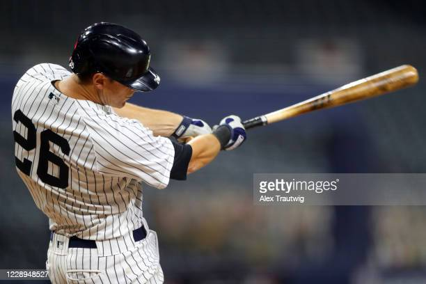 LeMahieu of the New York Yankees bats during Game 3 of the ALDS between the New York Yankees and the Tampa Bay Rays at Petco Park on Wednesday,...