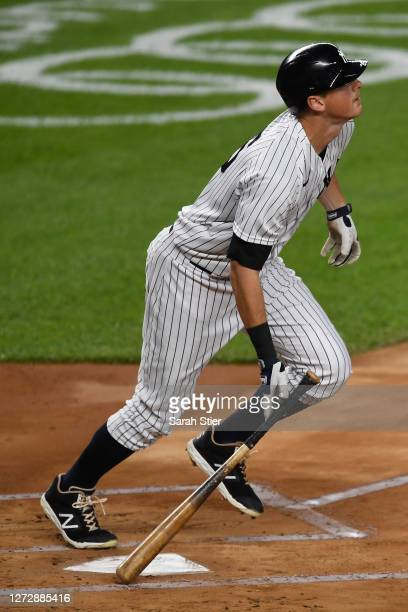 LeMahieu of the New York Yankees drops his bat after hitting a home run during the first inning against the Toronto Blue Jays at Yankee Stadium on...