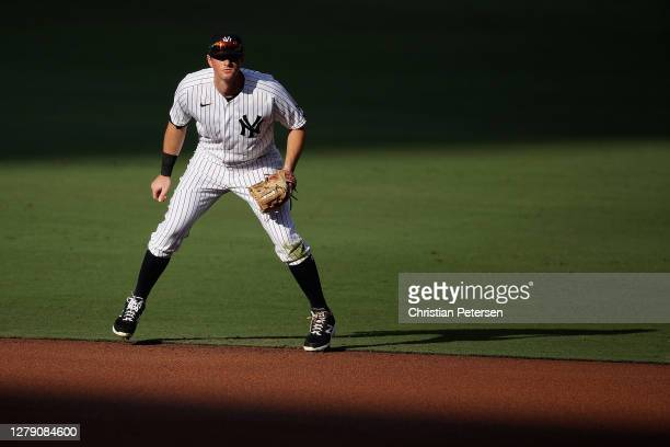LeMahieu of the New York Yankees fields in Game Three of the American League Division Series against the Tampa Bay Rays at PETCO Park on October 07,...