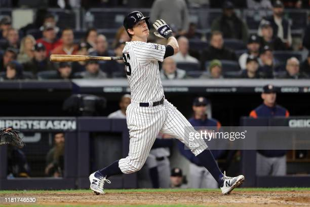 LeMahieu of the New York Yankees hits a ground-rule double against the Houston Astros during the sixth inning in game four of the American League...