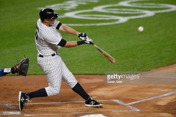 LeMahieu of the New York Yankees hits a home run during the first inning against the Toronto Blue Jays at Yankee Stadium on September 16, 2020 in the...