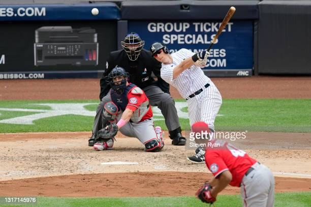 LeMahieu of the New York Yankees hits a single during the fifth inning against the Washington Nationals at Yankee Stadium on May 09, 2021 in in the...