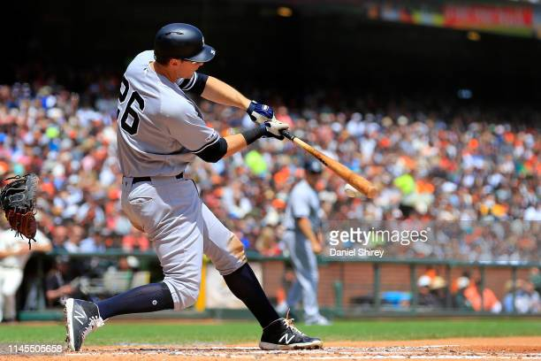 LeMahieu of the New York Yankees hits an RBI single during the third inning against the San Francisco Giants at Oracle Park on April 27, 2019 in San...